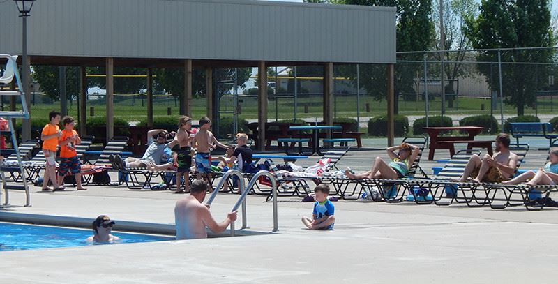 Families at the city pool